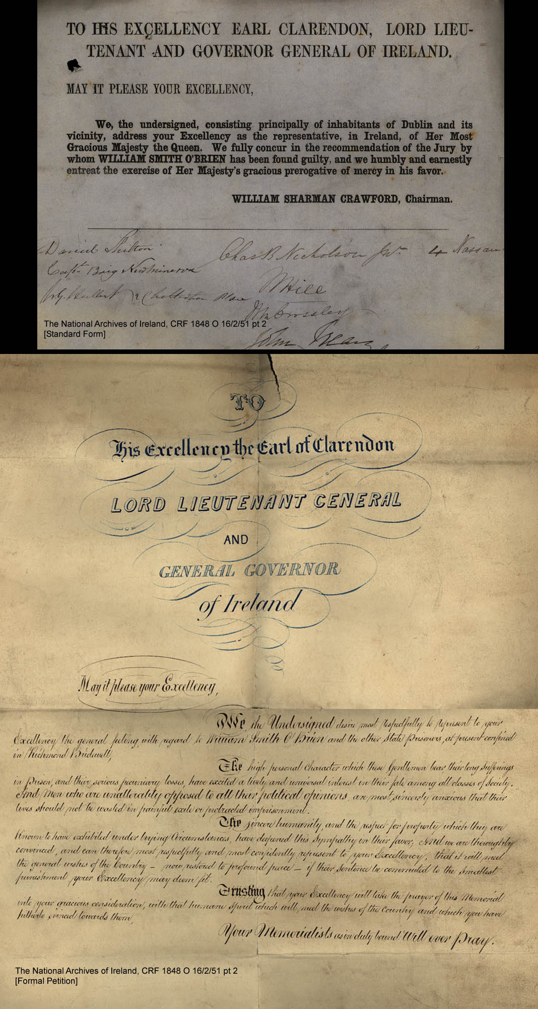 C:\Users\Virginia Rundle\Documents\Ancestry\Cranwill Kilpatrick Files\James Kilpatrick signed Earl Clarendon plea 1849.jpg