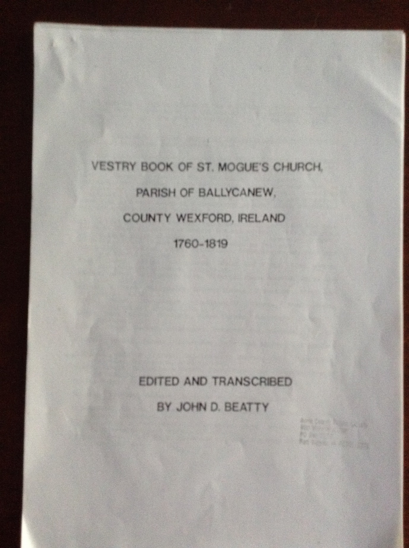C:\Users\Virginia Rundle\Dropbox\VR\Ancestry Stuff\Kilpatrick\St Mogues Vestry Book with mentions of Cranwill\Front cover of St Mogue's Vestry Book.JPG