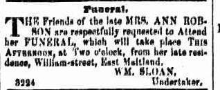 C:\Users\Virginia Rundle\Documents\Ancestry\Robson Files\William Robson SNR JP\Death of Ann Robson Maitland Mercury 17 Sep 1853 page 3.jpg