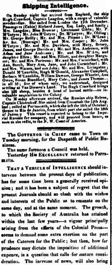 C:\Users\Virginia Rundle\Documents\Ancestry\Robson Files\Elliott\Arrival of the Hugh Crawford Sydney Gazette 7 April 1825 page 2.jpg