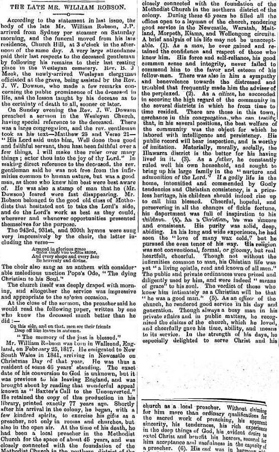 C:\Users\Virginia Rundle\Documents\Ancestry\Robson Files\William Robson SNR JP\The Late Mr William Robson Illawarra Mercury 10 Apr 1888 page 2.jpg