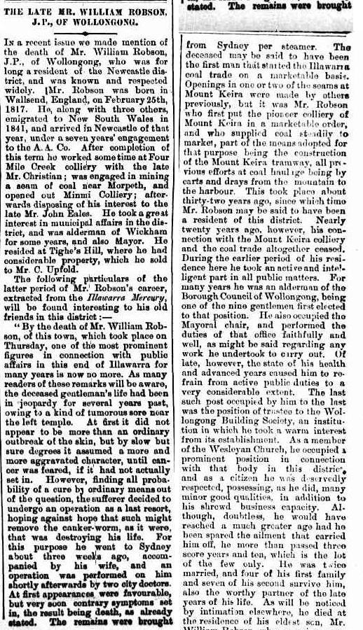 C:\Users\Virginia Rundle\Documents\Ancestry\Robson Files\William Robson SNR JP\The Late Mr William Robson JP of Wollongong Newcastle Morning Herald 17 April 1888 page 3.jpg