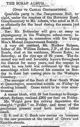 C:\Users\Virginia Rundle\Documents\Ancestry\Robson Files\Matthew Robson\Death of Mathew Robson father of William Robson JP aged 93 Illawarra Mercury 9 Dec 1884 page 2.jpg