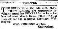 C:\Users\Virginia Rundle\Documents\Ancestry\Robson Files\Matthew Robson\Funeral of Mrs Mathew Robson Illawarra Mercury 6 August 1892 page 3.jpg