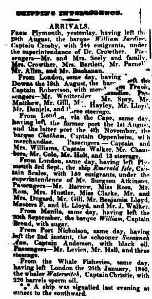 C:\Users\Virginia Rundle\Documents\Ancestry\Robson Files\William Robson SNR JP\Arrival of the Emerald Isle SMH 24 Dec 1841 page 2.jpg