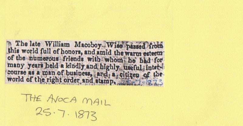 C:\Users\Virginia Rundle\Documents\Ancestry\Wise Files\William McOboy and Ellen Wise\Wise William McAboy Obit pag2.jpg