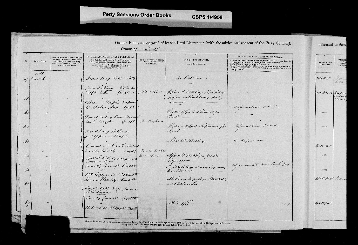C:\Users\Virginia Rundle\Documents\Ancestry\Wise Files\Wises from Cork\FrancisWise 1851 Petty Sessions Complainant.jpg