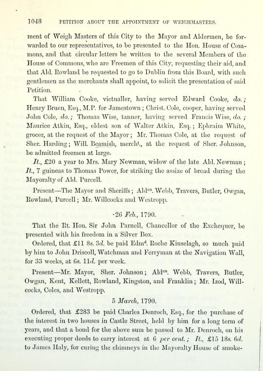C:\Users\Virginia Rundle\Documents\Ancestry\Wise Files\George Wise Tanner of Cork\councilbookofcork Thomas Wise be admitted free 23 Feb 1790.jpg