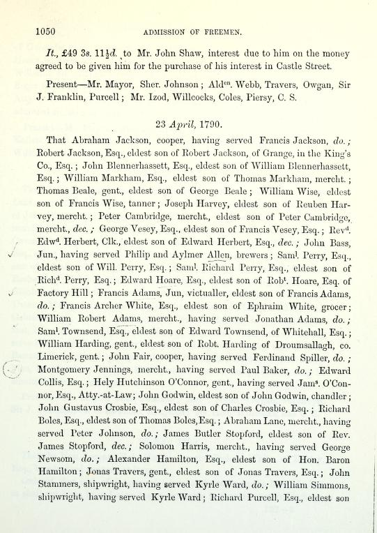 C:\Users\Virginia Rundle\Documents\Ancestry\Wise Files\Tanners of Cork and Directories\Council Book of Corporation of City of Cork William Wise eldet son of Thomas Wise 23 April 1790.jpg