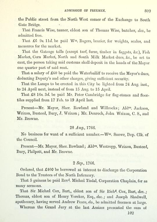 C:\Users\Virginia Rundle\Documents\Ancestry\Wise Files\George Wise Tanner of Cork\councilbookofcork Francis Wise be admitted free 30 Jul 1766.jpg
